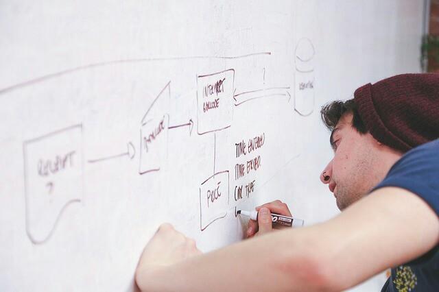 プロジェクトの全体スケジュールをドラフトしている男性